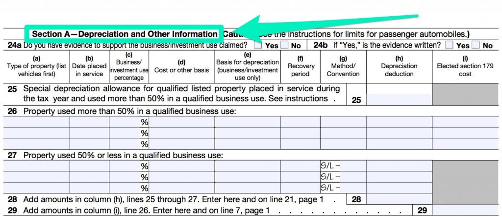 IRS FORM 4562 PART 5 A