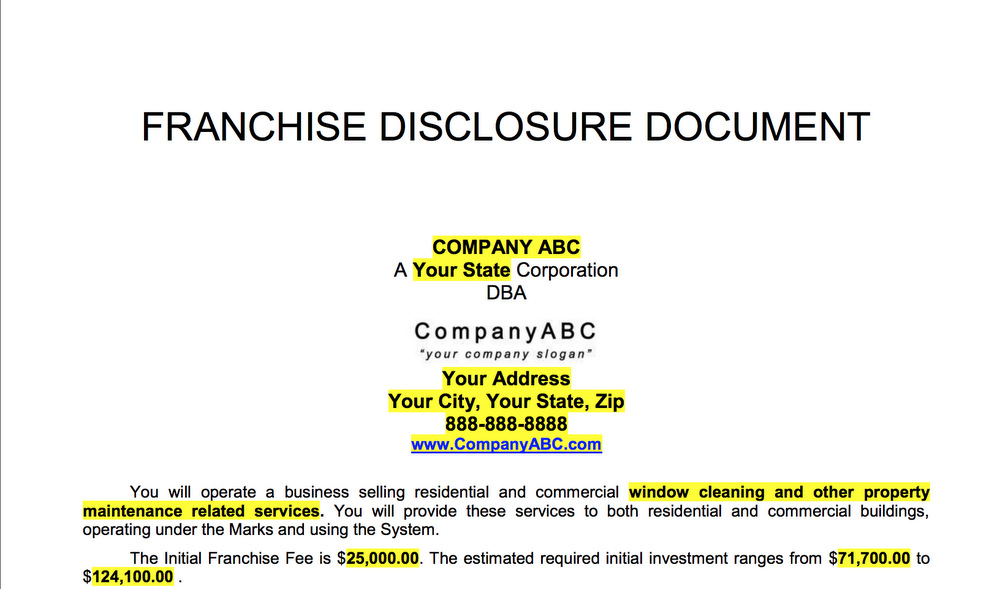 FRANCHISE DISCLOSURE DOCUMENT EXAMPLE PAGE