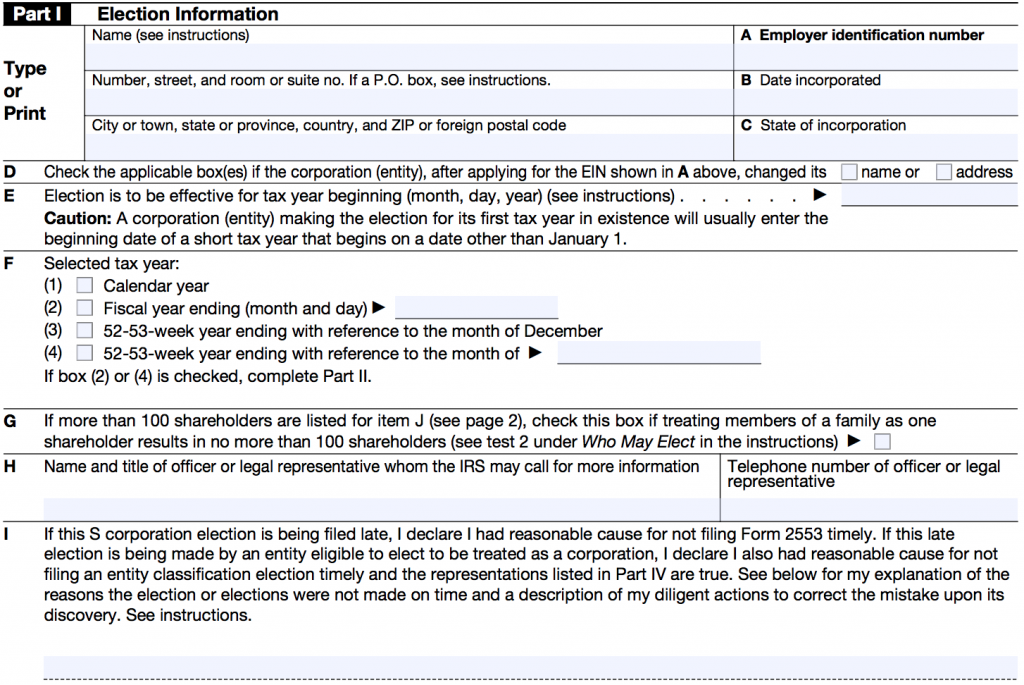 IRS FORM 2553 - PART 1