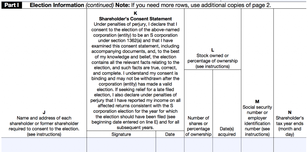 IRS FORM 2553 - PART 1 2
