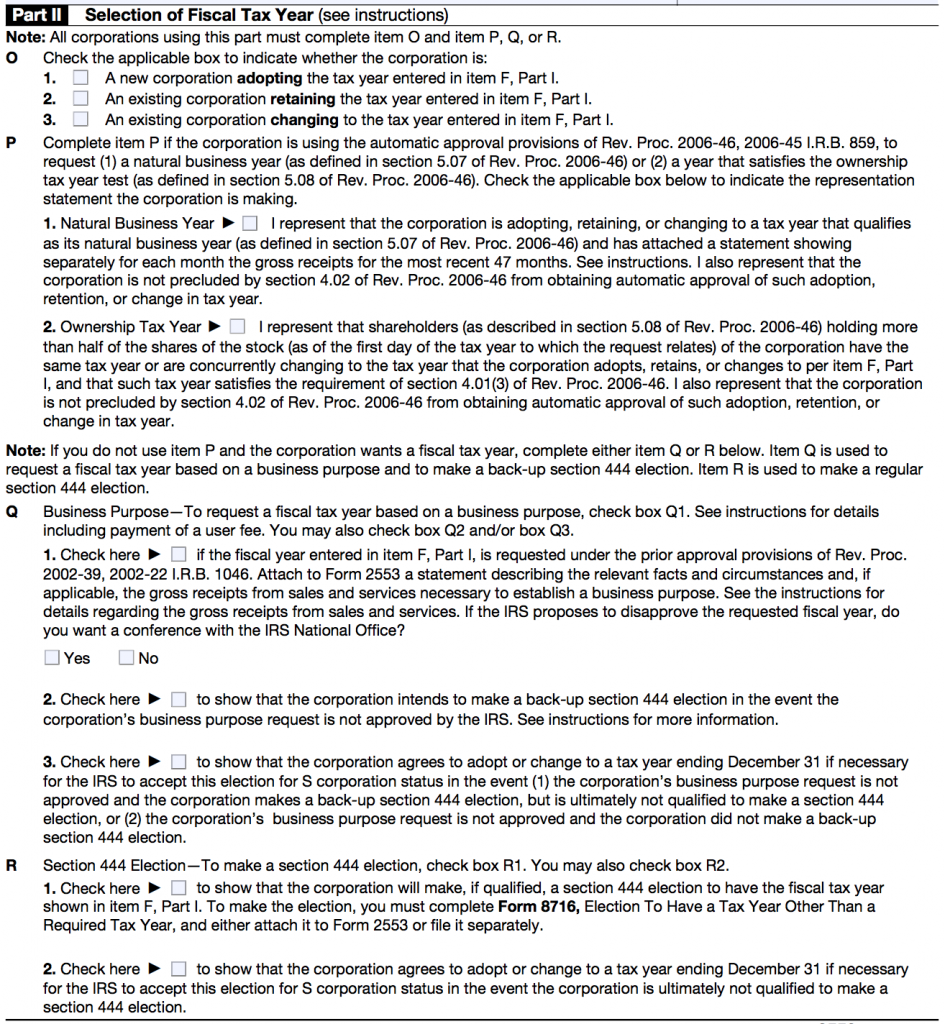 IRS FORM 2553 - PART 2