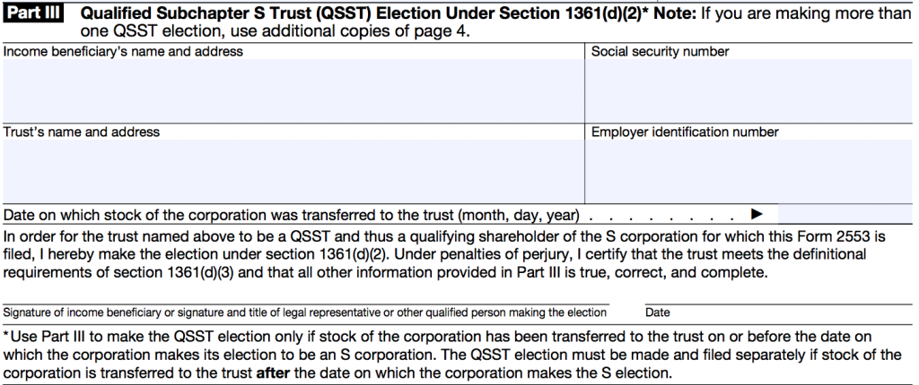 IRS FORM 2553 - PART 3
