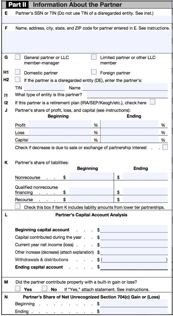 IRS SCHEDULE K-1 - PART 2